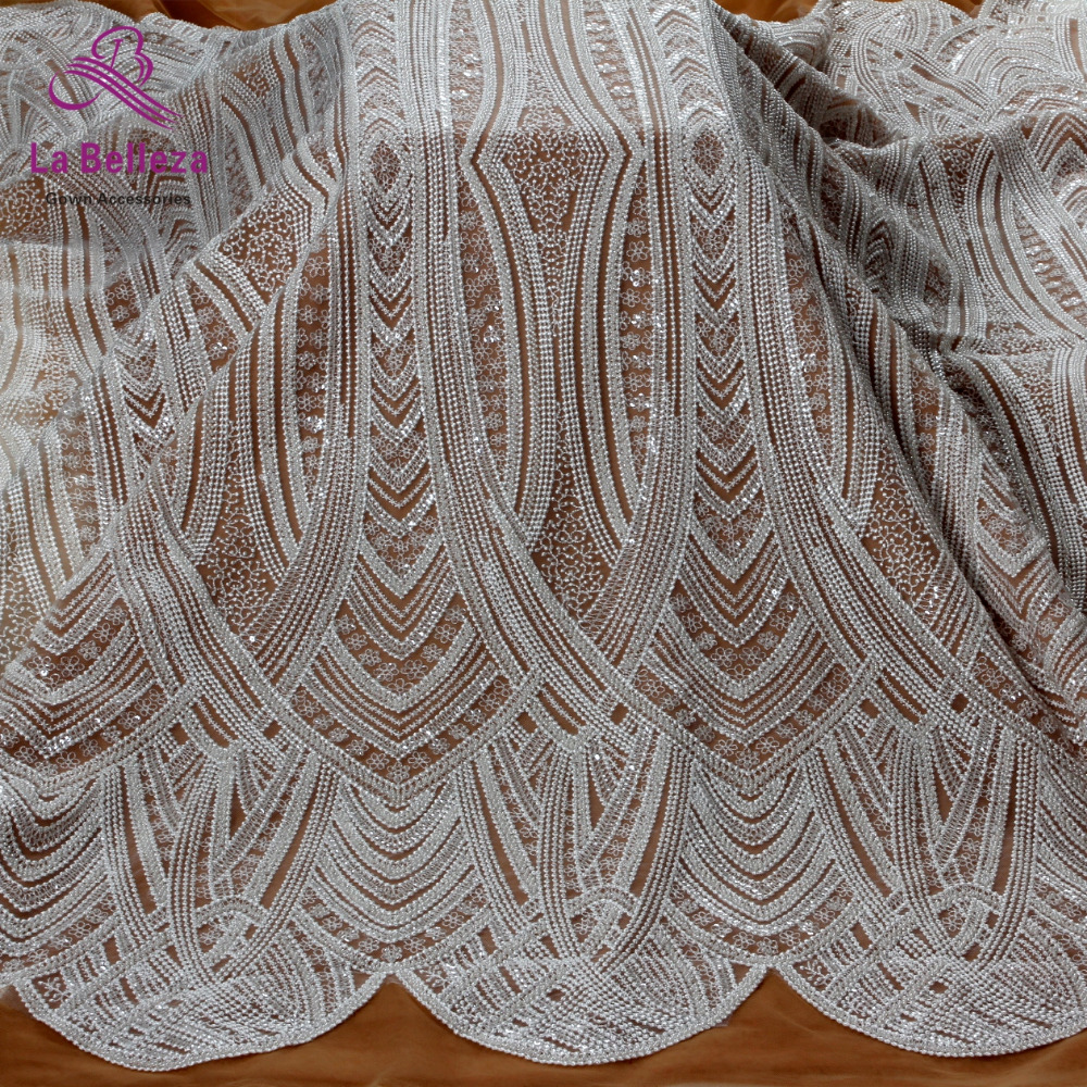 New fashion off white guipure lace beads with sequins on netting embroidered wedding dress evening dress
