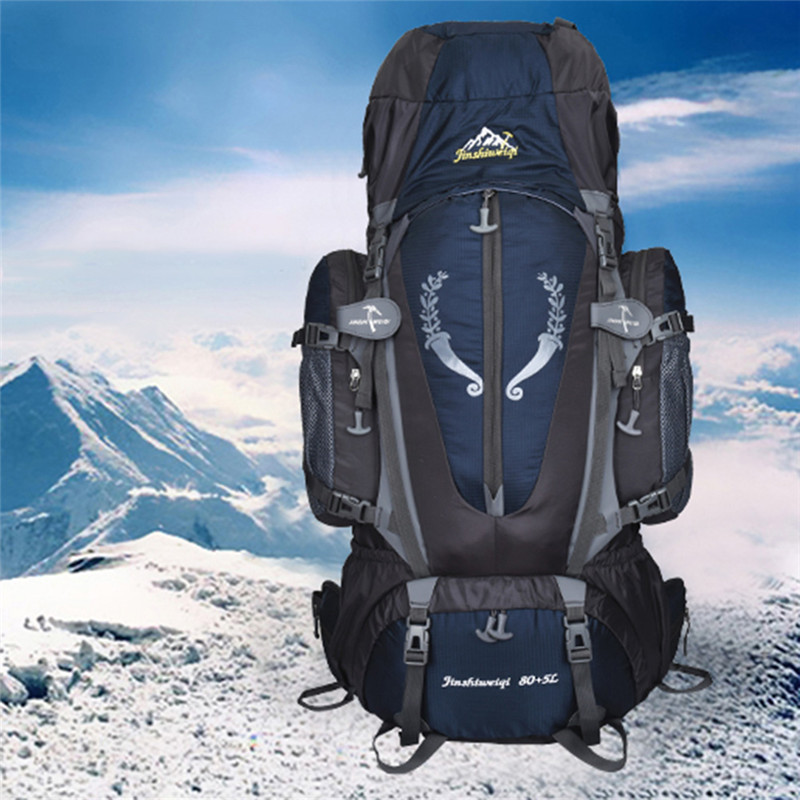 Waterproof Travel Hiking Backpack 80L+5L Sports Bag For Women Men, Outdoor Camping Climbing Bag, Mountaineering Rucksack 75l waterproof climbing hiking backpack rain cover bag women men outdoor camping climbing bag mountaineering rucksack