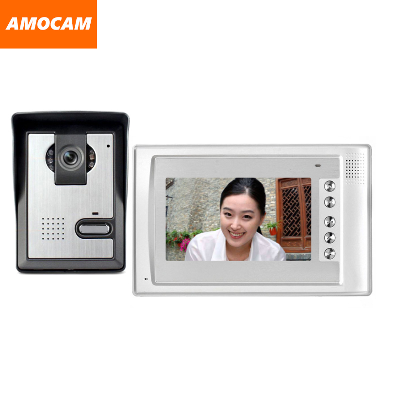 7 Monitor Video Doorbell Door Phone Kit IR Night Vision Aluminum Alloy Door Camera Video Intercom video interphone for home diysecur 7inch video door phone doorbell video intercom metal shell camera led night vision 1 monitor black for home office