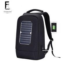 FENRUIEN USB Solar Powered Charge Rygsæk til mænd Kvinder Laptop Rygsæk 15,6 tommer Vandtæt Business Fashion Rygsæk