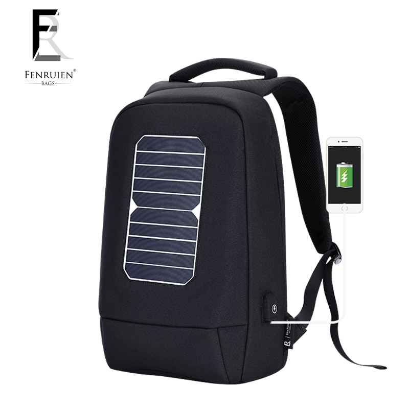 FENRUIEN USB Solar Powered Charge Backpack for Men Women Laptop Backpack 15.6 inch Waterproof Business Fashion Travel Backpack