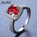 JUNXIN Luxury Big Red Geometric Ring White Gold Filled Ring Vintage Wedding Rings For Men And Women Fashion Jewelry