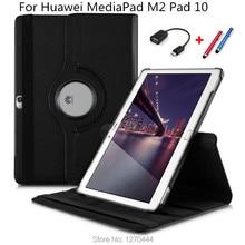 360 giratoria litchi piel de cuero de la pu case cubierta capa para para huawei mediapad m2 10.0 m2-a01w a01l a01f a01m tablet PC + stylus + OTG