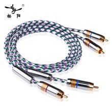 Купить с кэшбэком YYAUDIO C1 Hifi Rca Cable 6N OFC YYTCG 2-Male to 2-Male RCA Stereo Audio Cable
