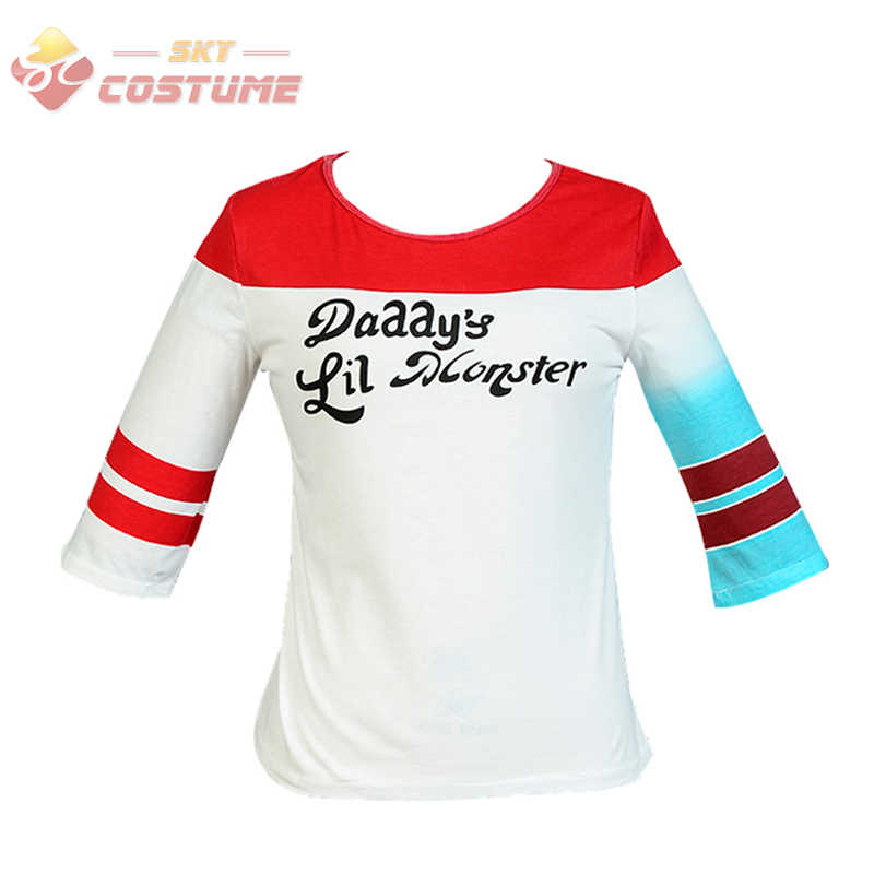 Batman Harley Quinn T Shirt Suicide Squad Daddy's Lil Monster T Shirt Halloween Joker Shirts Cosplay Costumes For Adult Women