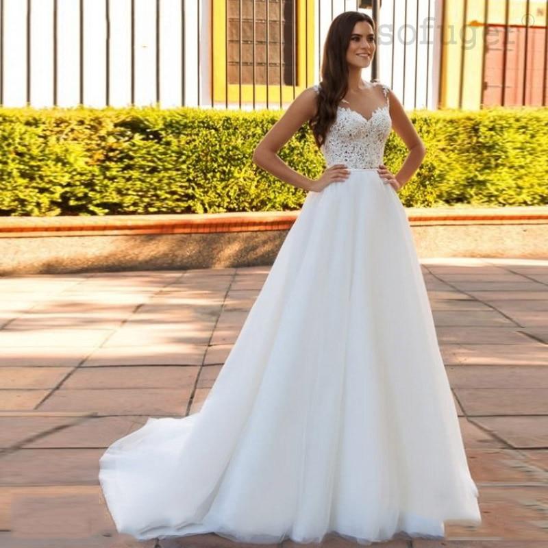 White Informal Bridal Dress 2019 Lace Appliques Boho Wedding Dress Romantic Vestido De Noiva Illusion Back Wedding Gown