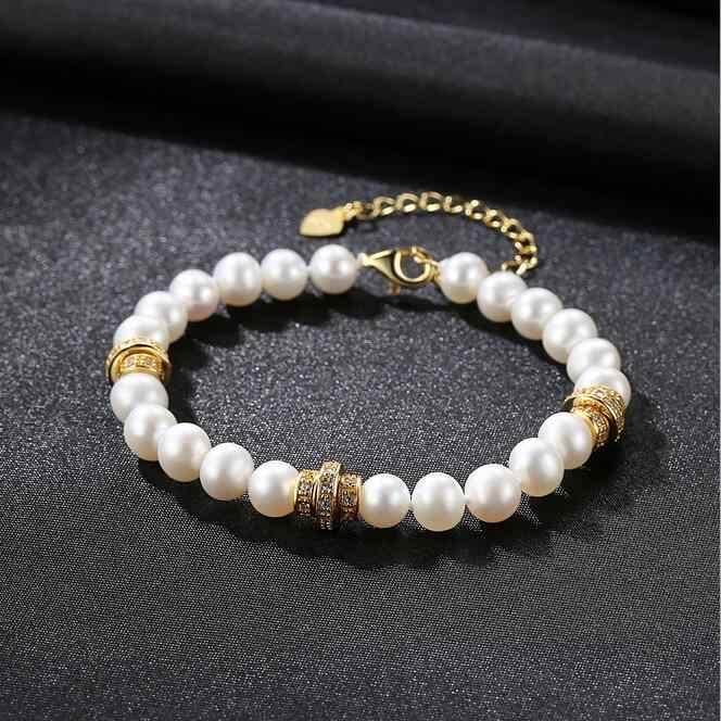 [MeiBaPJ] 高品質 6 ミリメートル本物の天然真珠のファッション黄金のビーズのブレスレット 925 スターリングシルバー女性のためのファインジュエリー