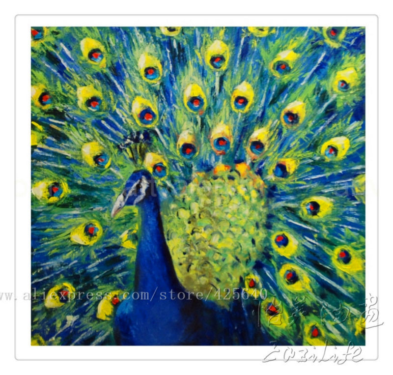 Handpainted Peacock Oil Painting Canvas Hight Quality Hand Painted Paintings 7 In Calligraphy