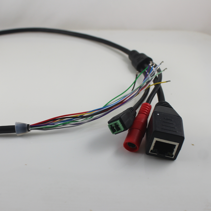 LAN Cable For CCTV IP Camera Board Module, IPcamera Tail Cable,Single Status LED,RJ45 Female Connectors With Terminlas