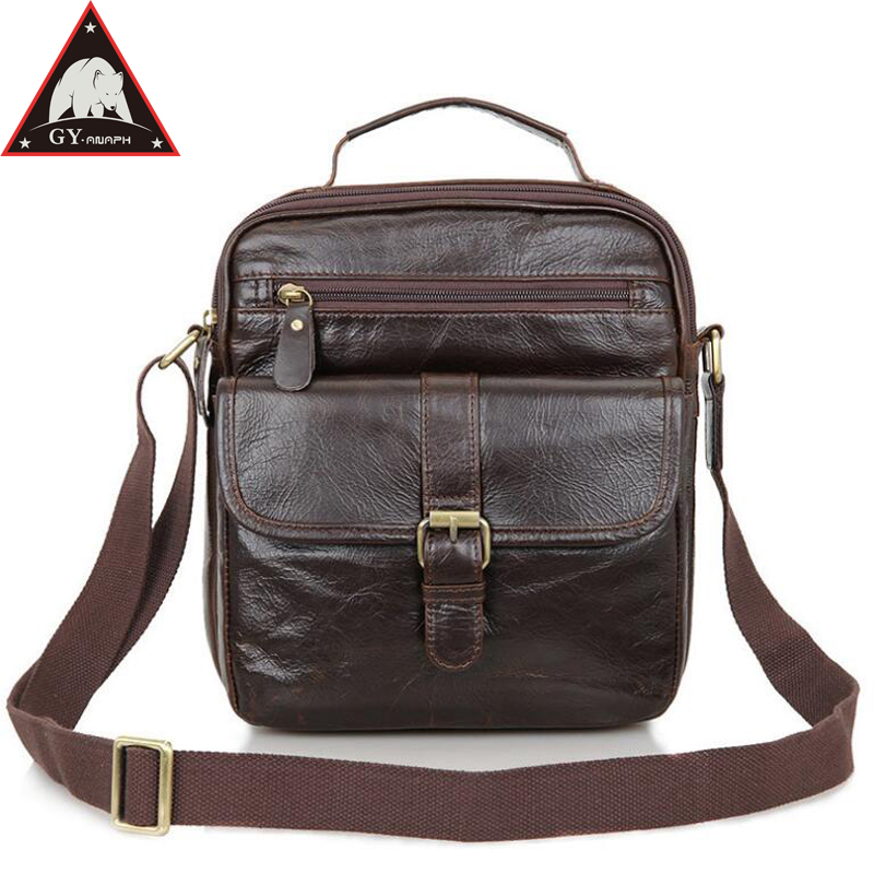 Anaph Genuine Leather Men Shoulder Bag Casual Messenger Bags Crossbody For Mini Ipad Attached Cowhide Small Flaps In Chocolate flaps in oral