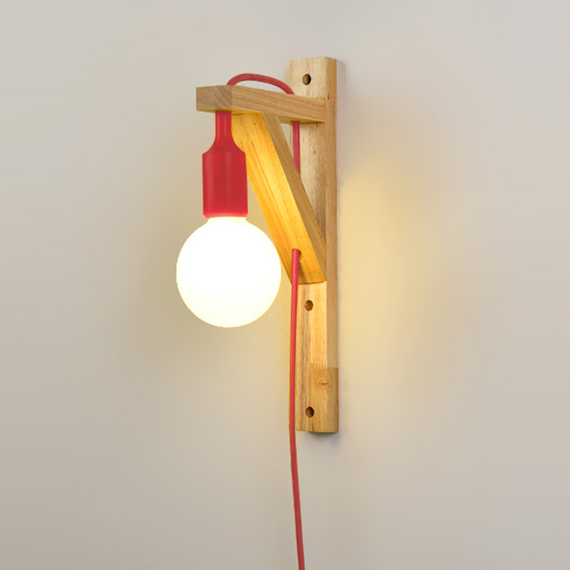 Modern Wood Wall Lamp With External