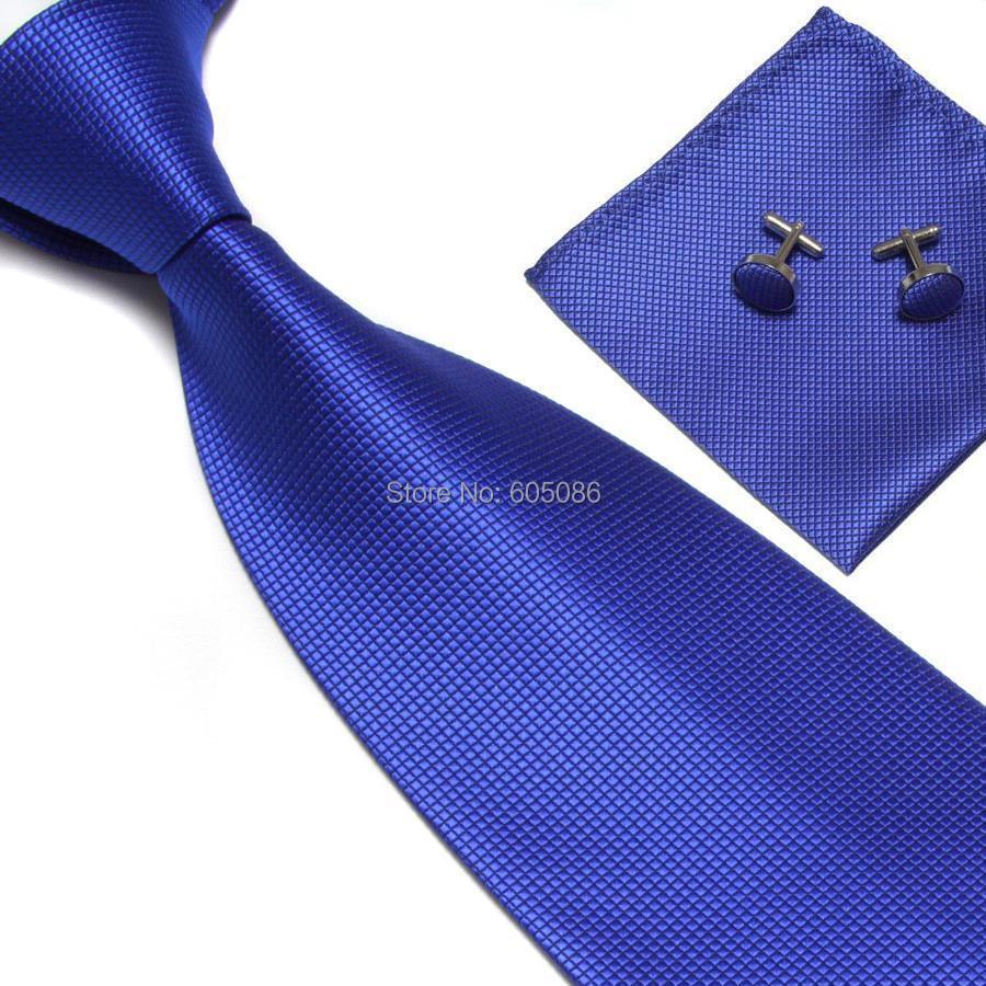 HOOYI collier de manchette hanky | Couleur unie bleu, ensemble pour hommes