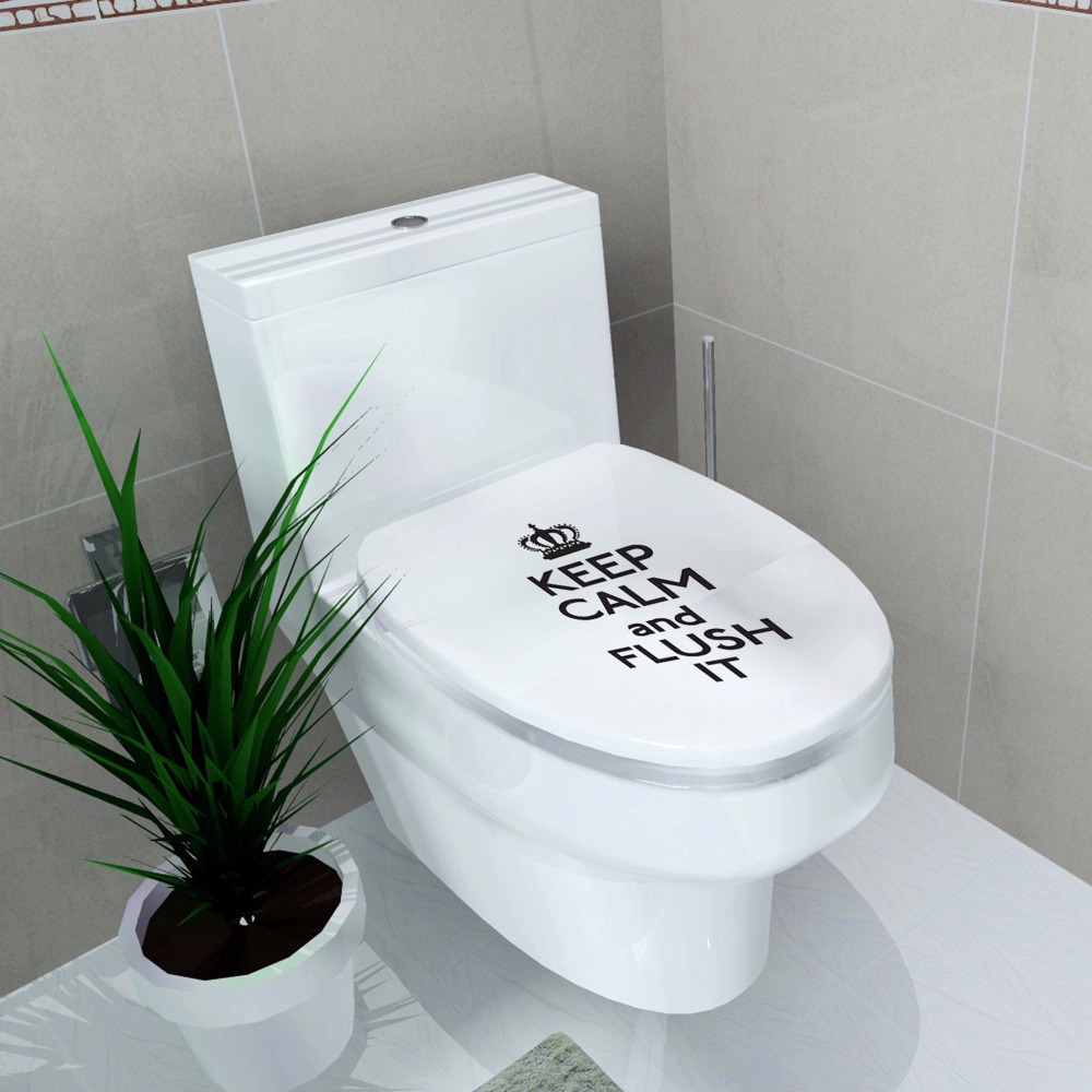 Zs Sticker Toilet decoration Toilet cover Decal Waterproof Sticker crown stickers English letter keep calm and flush it