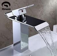 Newly Modern Simple Bathroom Waterfall Widespread Basin Sink Faucet Chrome Polish Single Handle Single Hole Mixer