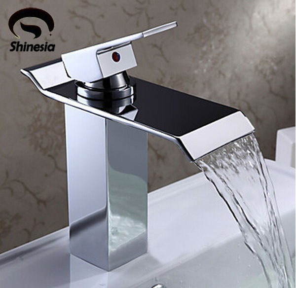 Recentemente Bagno Bacino Lavandino Rubinetto Cascata Diffuso Chrome Polish Single Handle Un Foro Miscelatore Deck Mounted