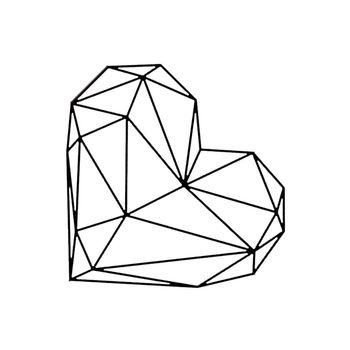 Practical Geometric Heart Wall Sticker Removable 3D PVC Decal Art Custom Home Romantic Context Decor 22 x 19 inch,Black line art