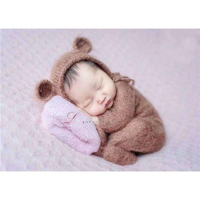 52e1e62ec41 Handmade knit Baby overall outfit Newborn hooded romper sitter Crochet  Mohair baby bear bonnet and knit