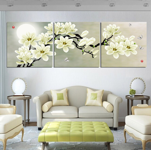 Printed Landscape Modular Picture Large Canvas Painting 3 Panels Magnolia  Flowers Painting For Living Room Home Part 98