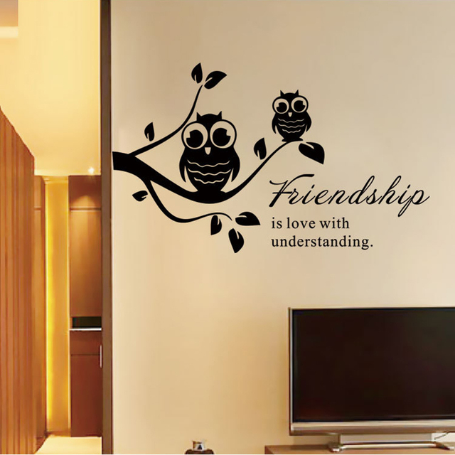Popular Friendship Quote Vinyl Wall Stickers Owl On The Tree Art ...