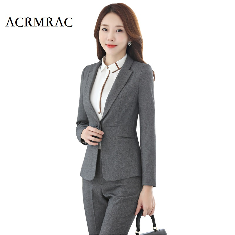 ACRMRAC Women Formal wear Suit Long sleeves Solid color Slim Single Button Workwear OL Formal Pant Suits business attire formal wear