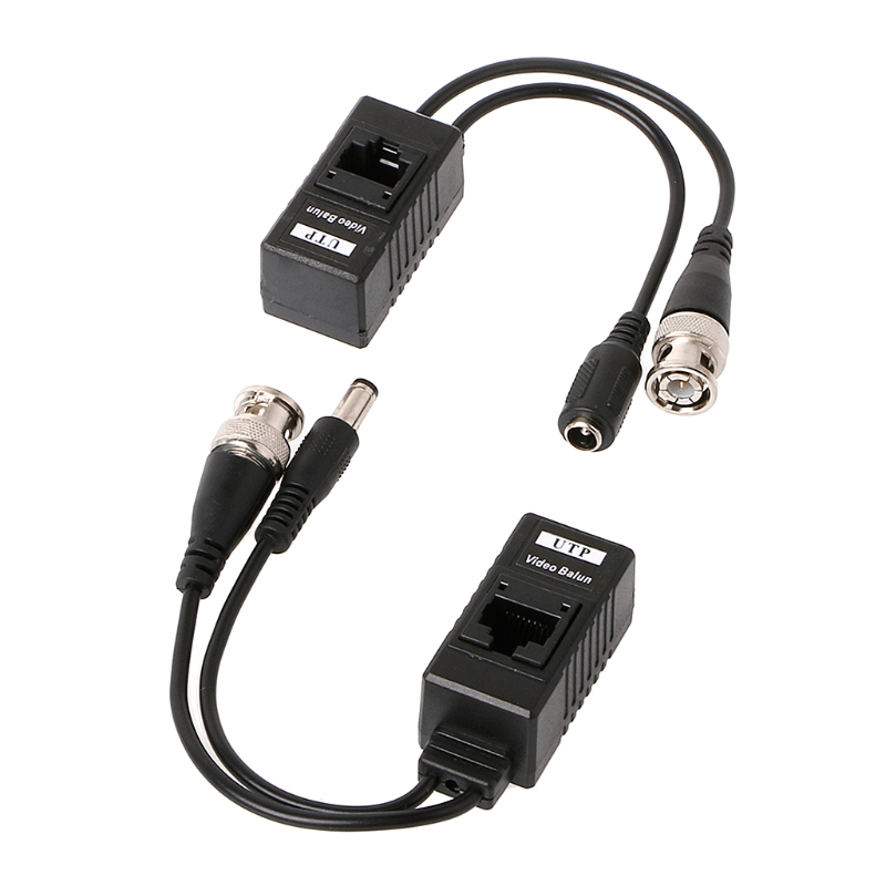 1 Pair BNC To RJ45 Passive Video Power + Audio Balun Transceiver For CCTV Camera
