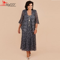 Plus Size Gray Lace Tea Length Mother Of The Bride Dresses With Jacket Bride Mother Wedding