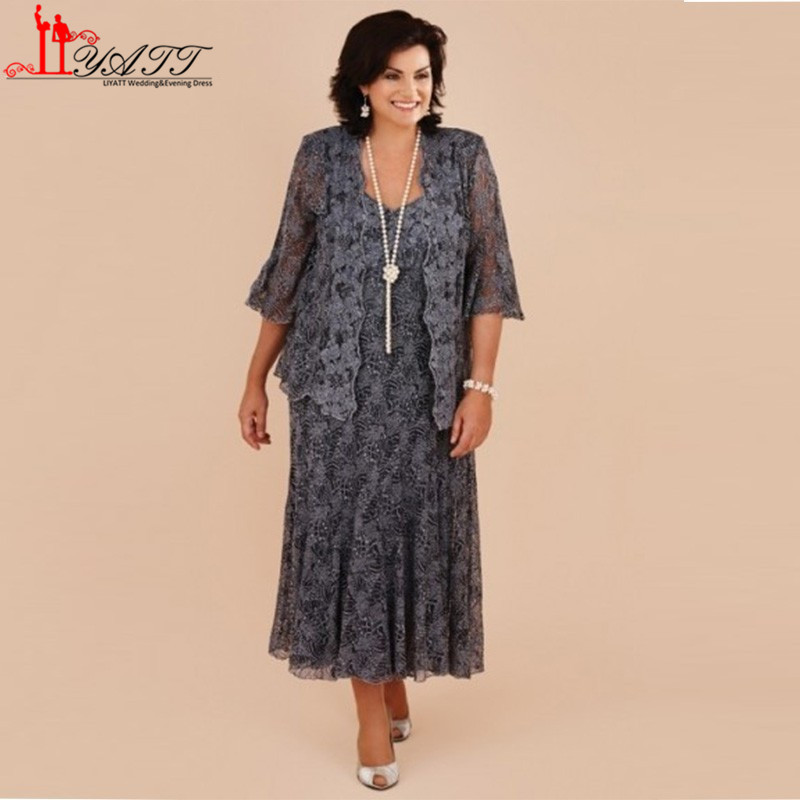 Buy plus size tea length gray lace mother for Cocktail dress with jacket for wedding