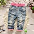 2016 nova chegada do bebê jeans menina calças flor moda infantil criança calça casual para a primavera e outono roupa do bebê