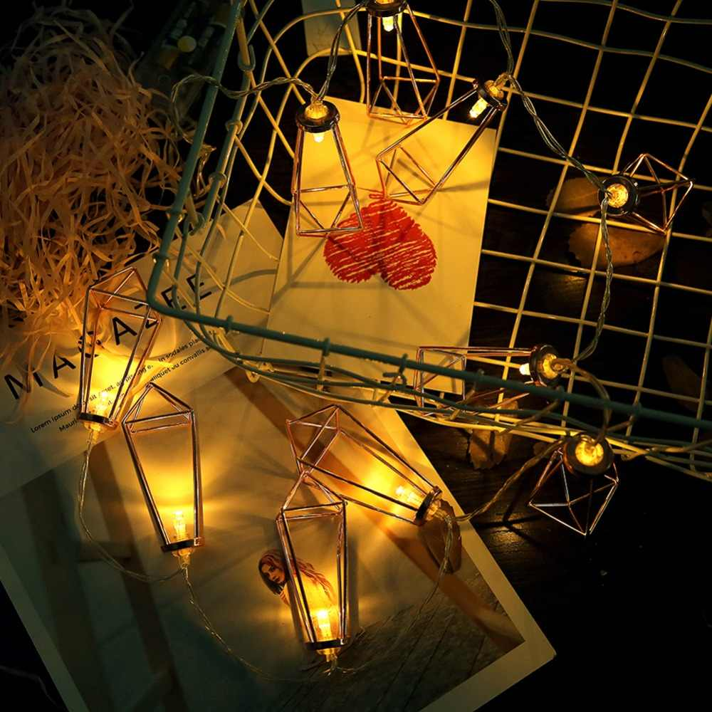 LED String Light 10LED โรแมนติก Rose โลหะทองเพชรน้ำหยด Patio โคมไฟสำหรับวันหยุดคริสต์มาสไฟตกแต่ง