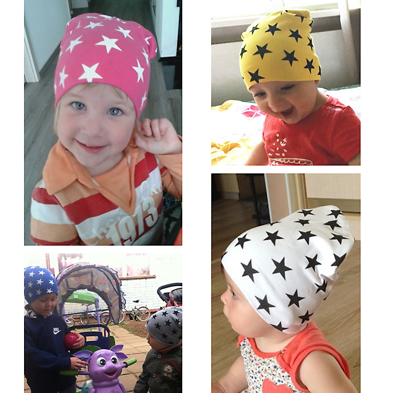 New Spring Infant Hat Autumn Caps Colorful Print Star Baby Beanie For Boys Girls Cotton Knit Hat Children Winter Hats Solid Cap