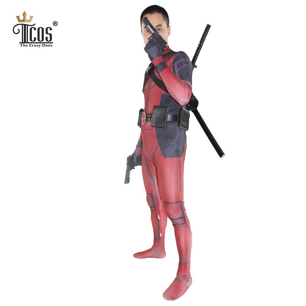 Deadpool Kostym 3D Spandex Lycra Avengers Full Body Second Skin Tight - Maskeradkläder och utklädnad - Foto 3