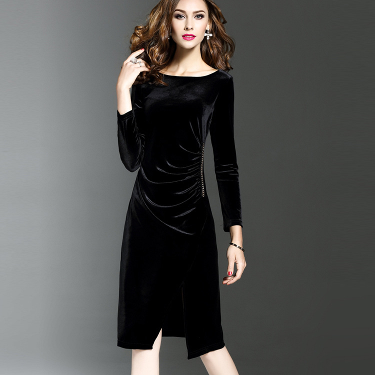 H 2018 Pleuche Autumn Dress Trendy Luxury Social Dress Tight Midi Wrap  Dress Noodles Ladies Clothing Elegant Female Clothes-in Dresses from Women s  Clothing ... 24b891a6bc87