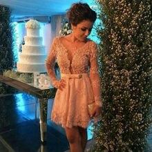 2016 Champagne Lace Cocktailkleider mit Langen Ärmeln Sexy Kurze Party Kleider Mini Homecoming Party Kleider Vestidos de Venda