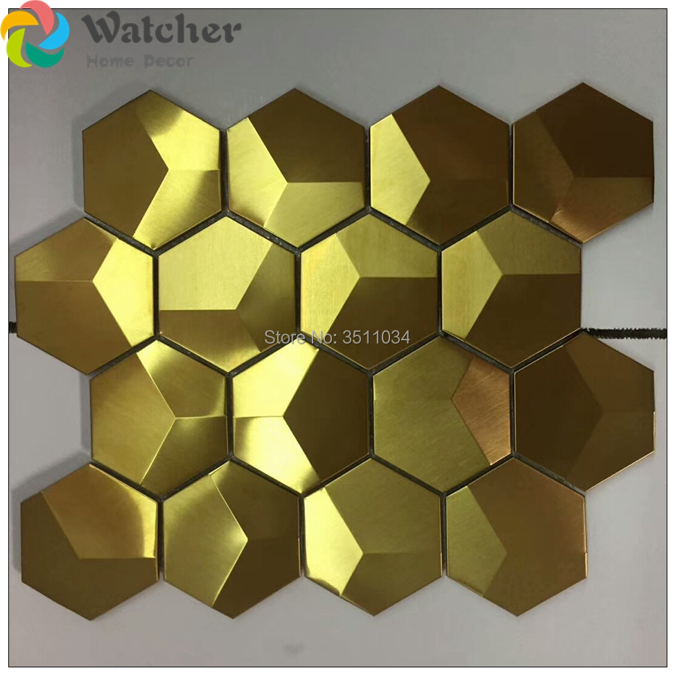 Hexagonal 3D convex mosaic metal tiles metal mosaic wall tile convex ...