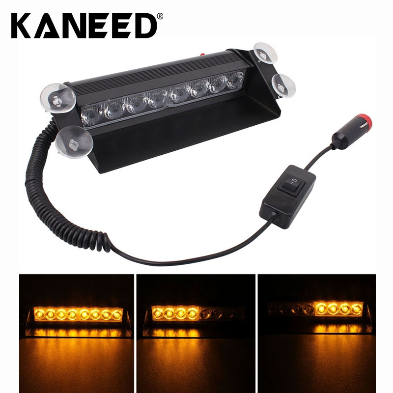 8W 800LM 8-LED Yellow Light 3-Modes Adjustable Angle Car Strobe Flash Dash Emergency Light Warning Lamp with Suckers