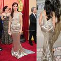 O 86o Academy Awards SANDRA BULLOCK tapete vermelho vestido 2015 vestidos celebridade com mangas Trumpet Sequins Lace