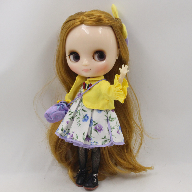 Middie Blythe Doll Flower Dress With Coat & Bag & Stocking & Hairpin