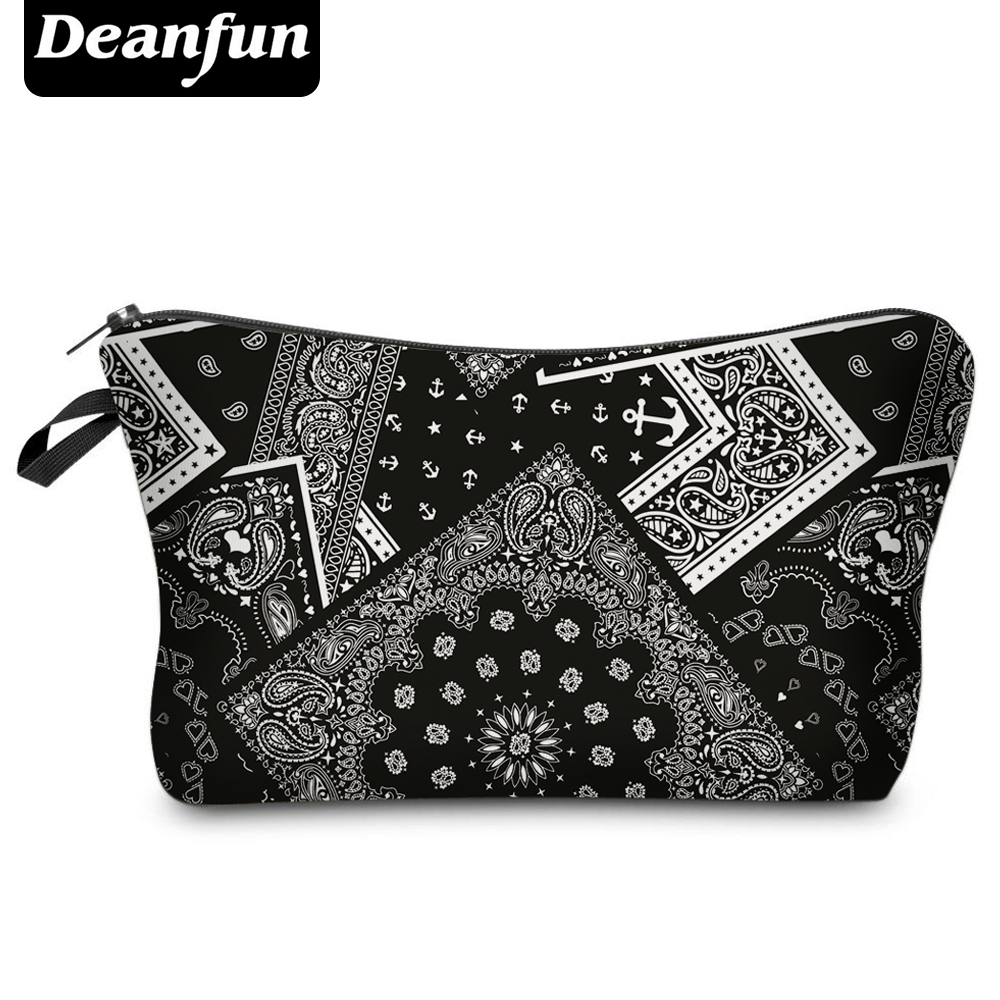Deanfun 3D Printed Cosmetic Bag Vintage Pattern Polyester For Women Travel Necessity H81