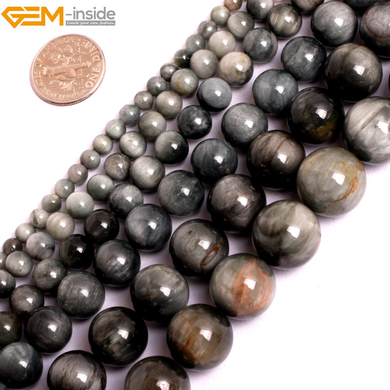 Gem-inside 4-mm Natural Stone Beads Eagle Eye Falcon Eye Beads For Jewelry Making Beads 15'' DIY Beads Jewellery Gift