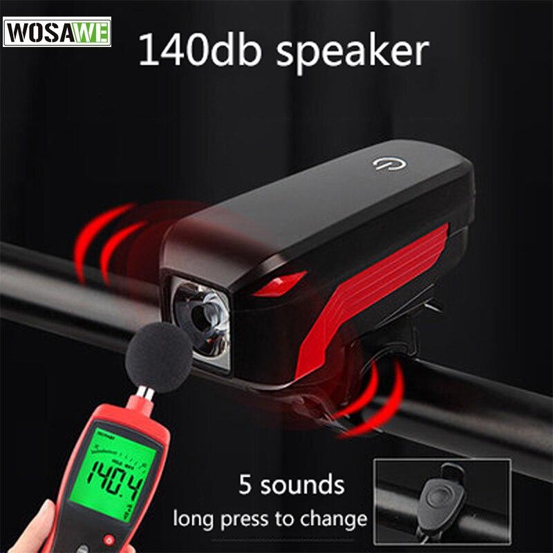 WOSAWE Universal Bicycle Lights Bell USB Charging Bike <font><b>Horn</b></font> Light Headlight Cycling Ultra Bright Electric 140 db <font><b>Horn</b></font> Bike Lamp