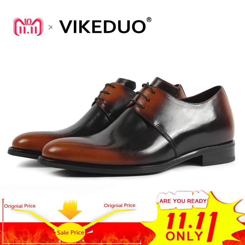 VIKEDUO Luxury Classic Brand Fashion Italy Height Increas Male Dancing Formal Shoe Genuine Leather Man Footwear Mens Derby Shoes цены