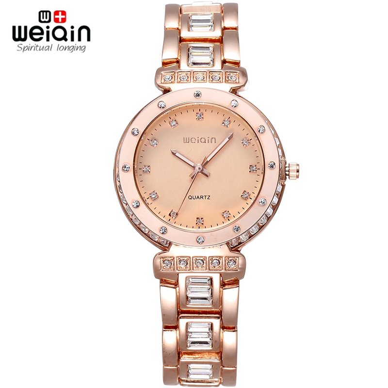 WEIQIN Brand Luxury Women Watch Crystal Diamond Rhinestone Fashion Watches Rose Gold Quartz Dress Wristwatch Relogio Feminino weiqin real ceramic women watch brand luxury diamond fashion watches ladies rose gold wrist watch quartz hours relogios feminino