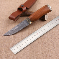 Free shipping Handmade Forged Damascus Hunting Knife Camping Survival Knife Fixed Blade Tactical Knife Cocobolo Hanlde Brown