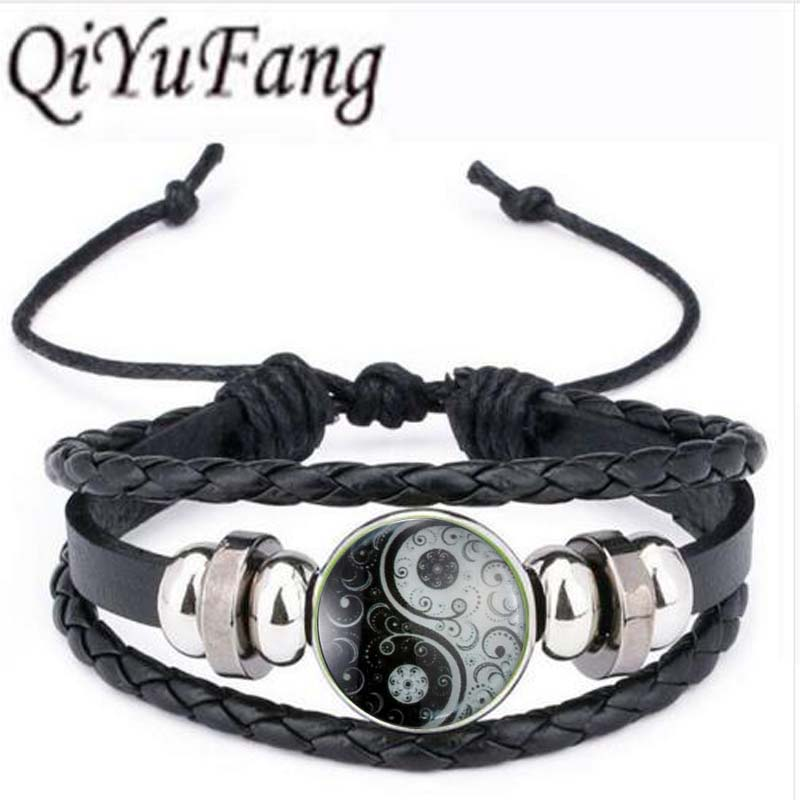 Qiyufang bracelet bangle Glass Cabochon Statement Silver Long Bead Chain bracelet bangle Glow In Dark Accessories Fine Jewelry