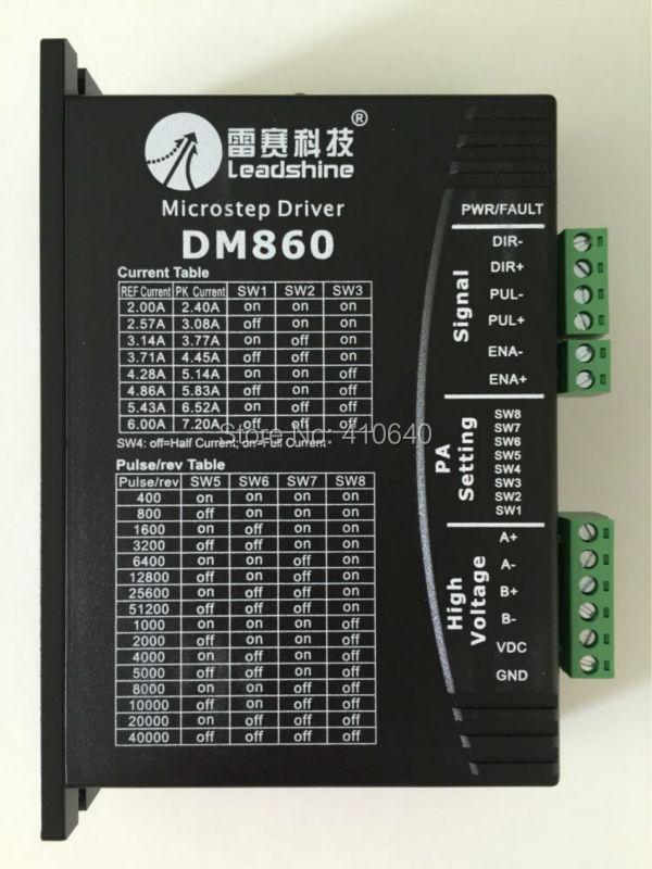 цена GENUINE! Leadshine DM860 2-Phase 32-Bit DSP Digital Stepper Drive of 20 to 80 VDC Input 2.4 to 7.2A Output 4 pieces per lot