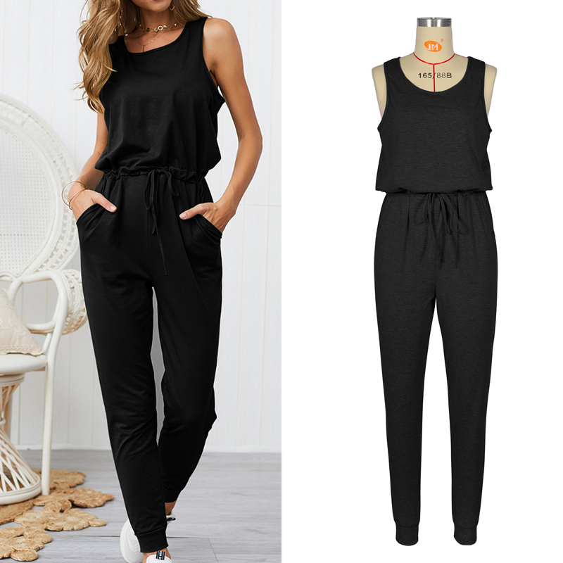 Sexy Sleeveless Jumpsuit Women Long Romper 2019 New Summer Women Lady  Jumpsuit Coveralls Sexy Female Black Bow Jumpsuits