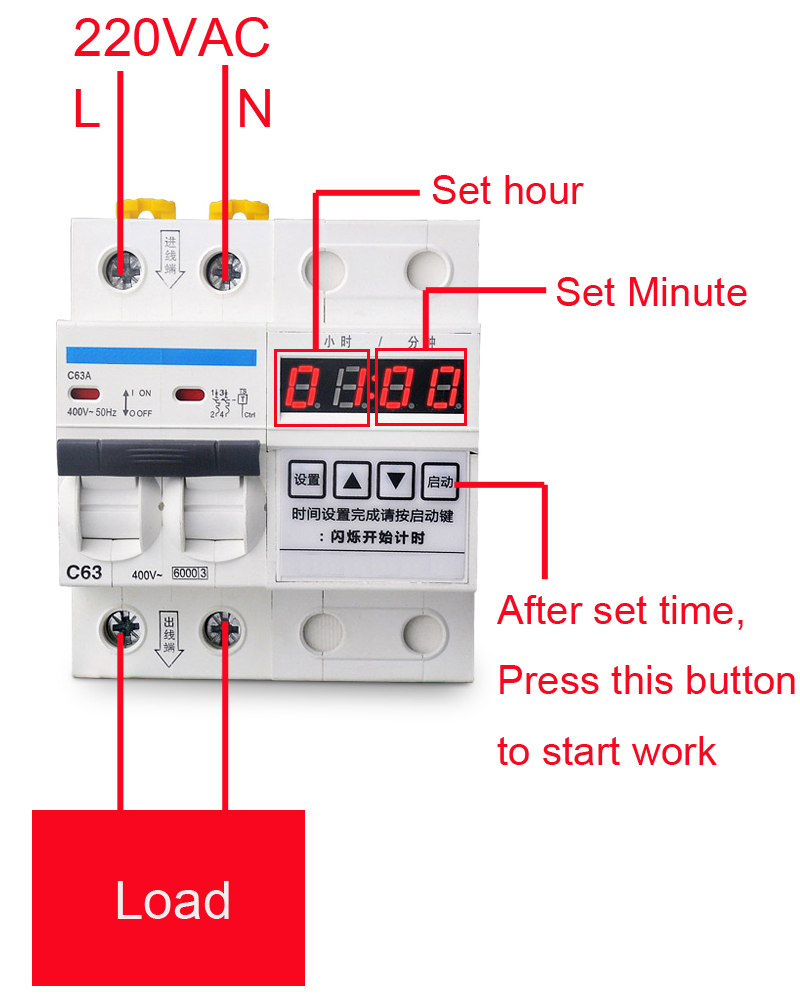 63a 12000w Circuit Break With Timing Function Countdown 0 99 Counter Diagram Breaker Time Hours 59 Minutes Timer Switch In Timers From Tools On