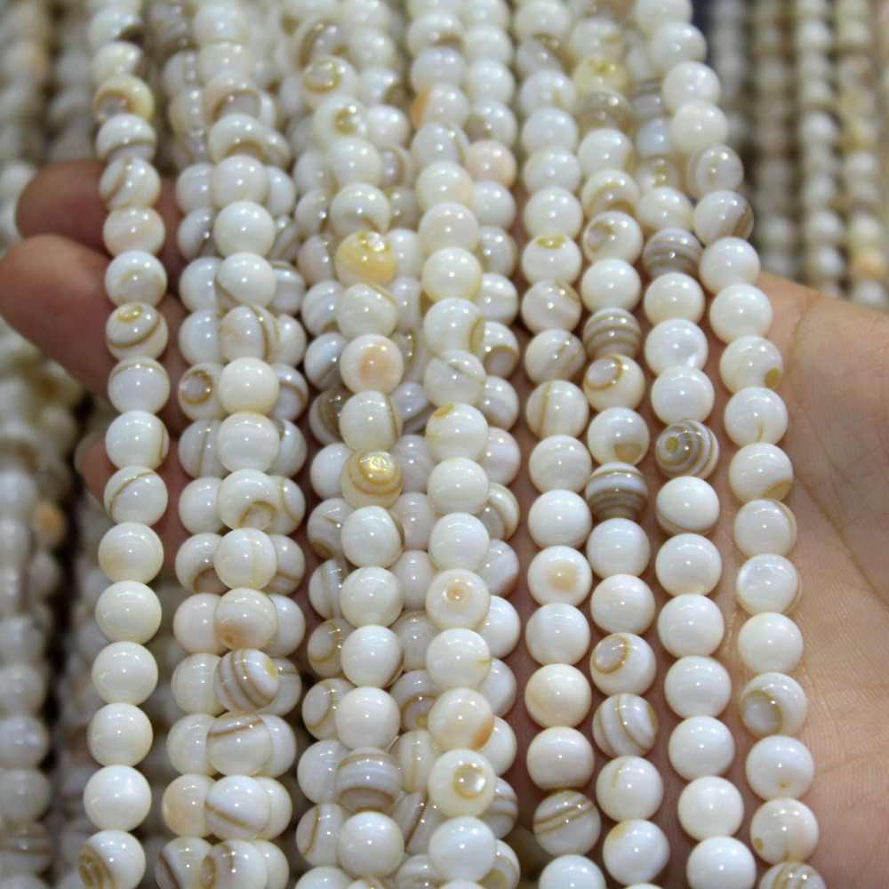 """N Natürliche Streifen Chinesischen Shell Perlen Für Schmuck Machen DIY Charme Armband Halskette stein 4/5/6/7/8mm Strang 15,5 """"Großhandel"""