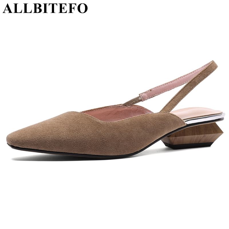 ALLBITEFO brand genuine leather women sandals high guality middle heel shoes sandals ladies square heel san