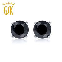GemStoneKing Diamante Negro de Joyas de 0.33 Quilates Corte Redondo Diamante Negro Natural 14 K Blanco Aretes de Oro Para Las Mujeres